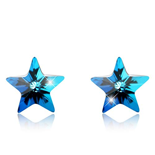 Star Stud Earrings Sterling Silver Jewelry Tiny Star Earrings Anniversary Gifts Teenage Girls Blue Topaz Created December March Birthstone Zircon Mother Valentine's Day Gifts Girlfriend Wife