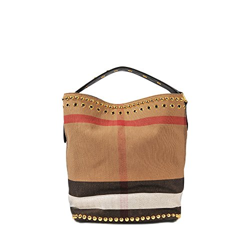 Burberry Women's Medium 'Ashby' Riveted Canvas Check /Leather Handbag Beige + Brown
