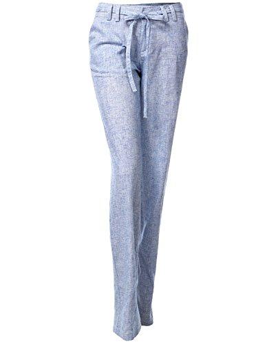 Luna Flower Belted Wide Comfortable Linen Blended Pants 030-Blue US S