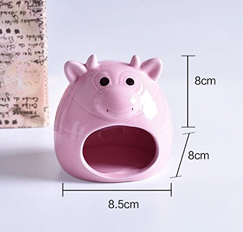 Small Animal Hideout Ceramic House Critter Bath House Cave Mini Hut Cage for Chinchilla Hamster (PINK)