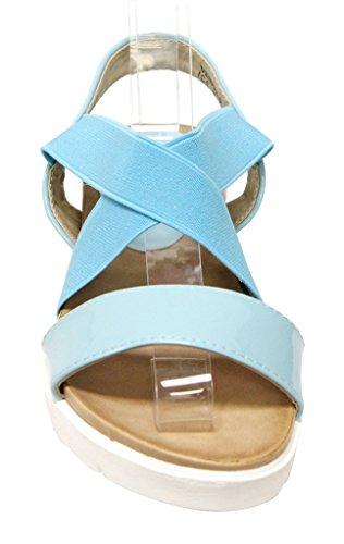 Bella Marie Venice-8 Womens Open Teen Slingback Comfort Sole Elastische Kruising Boven Patent Sandalen Ice Blue