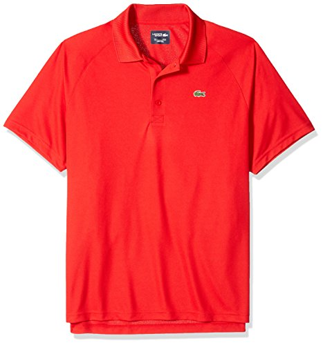 Lacoste Men's Sport Short Ultra Dry Raglan Sleeve Polo, red, X-Large