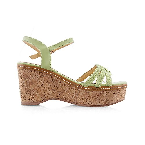 Sandals Buckle AmoonyFashion Open Material LightGreen Heels Soft Solid Womens High Toe qnWnx0zRr