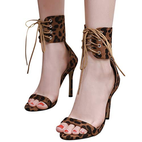 Amlaiworld Women Plus Size Sandals Lace-Up Ruffles Shoes Sexy Cross Strap Lady Dress Stiletto High Heels Peep Toe Sandals (US:5, Yellow)