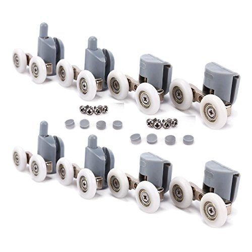 Shower Door Rollers, TopRay 4pcs Top + 4pcs Bottom Sliding Enclosure Door Glass Roller Replacement (Double Wheel, 25mm)