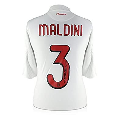 Paolo Maldini Signed 2008-09 AC Milan Player Issue Away Soccer Jersey | Autographed Italy Serie A Memorabilia
