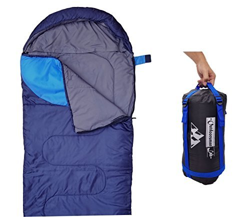 "Outdoorsman Lab Camping Accessories – 85"" x 29.5"" Soft Sleeping Bag with Compression Sack - Kids Men Women 3-4 Season Ultralight Compact Packable Bags (Dark Blue)"