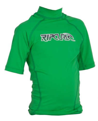 Rip Curl Boys Youth Classic Short Sleeve Corp Lycra Rash Guard (Green 4)