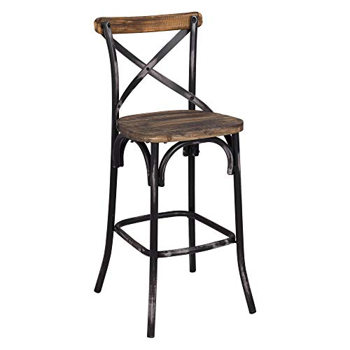 Acme Furniture 96640 Zaire Bar Chair, Walnut/Antique Black