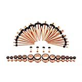 Xpircn 36PCS 14G-00G Taper Gauge Plugs Stainless Steel Ear Stretching Kit with Rubber O-Rings for Men Women