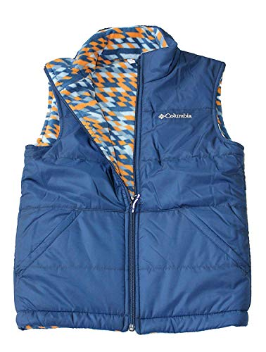 (Columbia Youth Kids Boys Ice Chips II Reversible Fleece Puffer Vest (Carbon, L 14/16))