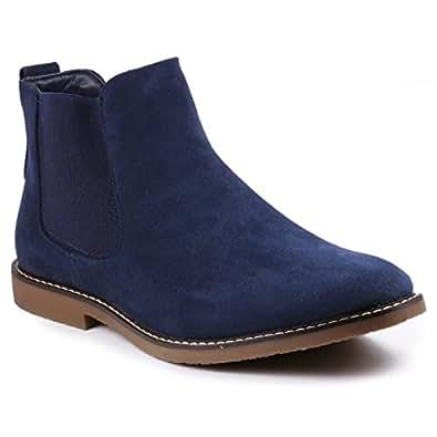 Metrocharm MC128 Men's Formal Dress Casual Ankle Chelsea Boot Blue Size: 6.5