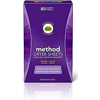 Method Compostable Lavender + Cypress Dryer Sheets, Pack of 1