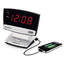 Westclox 71014X 0.9 LED Plasma Screen Alarm Clock with USB Charging Port