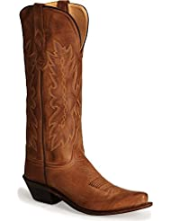 Old West Tan Canyon Womens All Leather Snip Toe 14in Tall Cowboy Boots 7.5 M