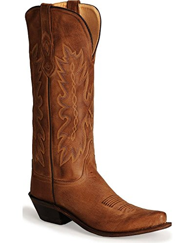 Tan Distressed Childrens Boot - Old West Boots Women's TS1541, Tan Canyon 8 B - Medium