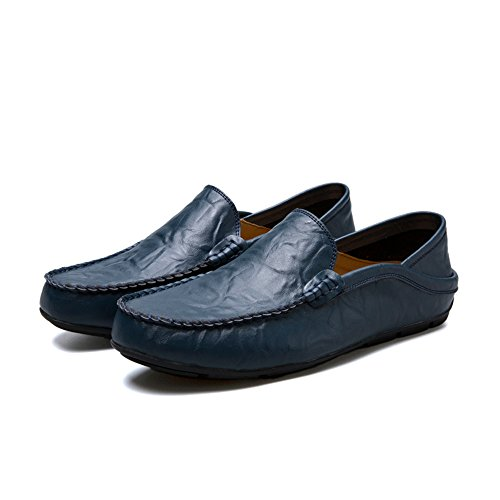 Easy Go Shopping Leather Shoes Men's Flat Heel Fashion Loafer Slip On Leisure Shoes Blue C48dF