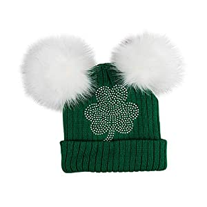 Sequin Shamrock Baby Beanie Hat White