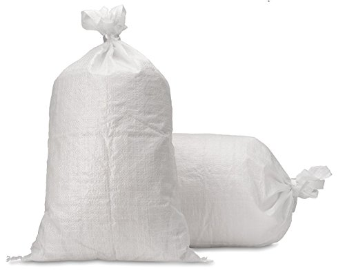 "UpNorth Sand Bags - Empty White Woven Polypropylene Sandbags w/Ties, w/UV Protection; size: 14"" x 26"", Qty of 100"