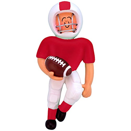 (Personalized Playing Football Boy Christmas Ornament for Tree 2018- Team Man Athlete in Red Uniform Helmet Running Score Profession Hobby Goal - School Coach Grand-Son - Free Customization by Elves)