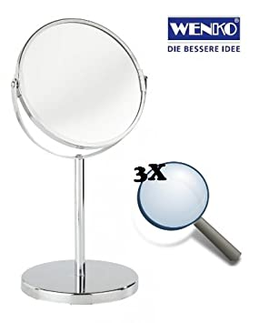 Wenko Large Chrome Swivel Free Standing Magnifying Cosmetic Shaving Bathroom Mirror