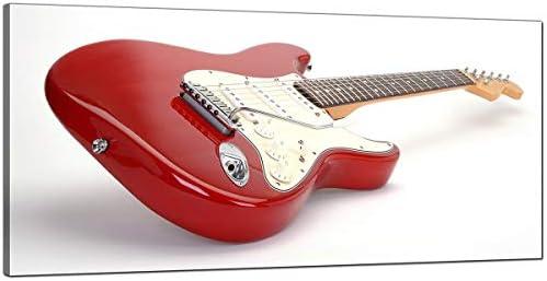 Grande rojo y blanco lienzo de una guitarra eléctrica – música ...