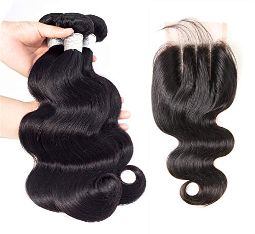 (Kiss Beauty Brazilian Human Hair Body Wave 3 Bundles with Closure 8A Human Hair 100% Unprocessed Virgin Hair Natural Color(20 22 24+18) )