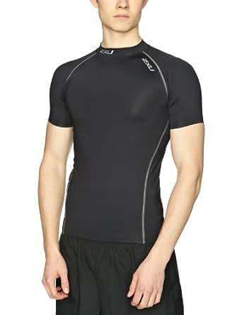 2XU Men's Elite Compression Short Sleeve Top, Mens, MA1929a, Black/Steel, X-Large