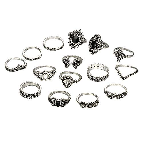 16 PC 2021 Fashion Rings for Women Girls, Personalized Premium Mom Loves You Forever Rings, Diamond Silver Exquisite Wedding Ring Jewelry Gifts Rhinestone Dazzling Ring Gift Size 5-11 (ZT, One Size).
