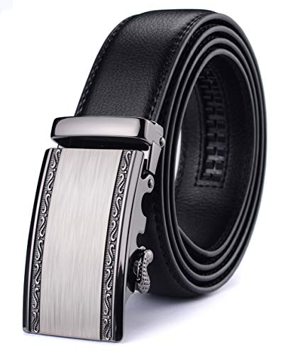 Xhtang Men's Ratchet Belt Automatic Buckle Genuine