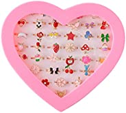 Chrontier Adjustable Rings Set for Little Girls 36 pcs Cute Colorful Rings for Kids Dress up Rings Children