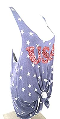 Miss Chievous Womens USA Star Spangled Tank Top Blue