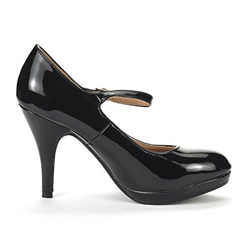 Coppia Di Sogni Donna Lilica Mary-jane Chiudi Toe Stilleto Platform Heel Pump Shoes Black Pat