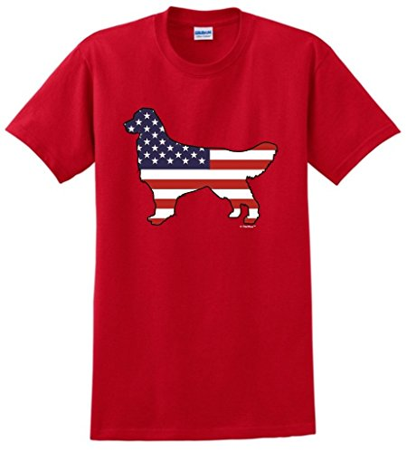 Patriotic Dog Gift Golden Retriever American Flag T-Shirt Small Red