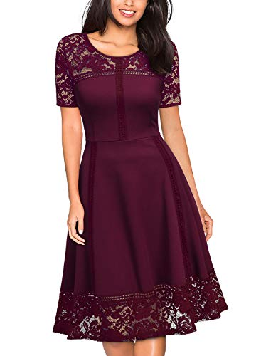 MISSMAY Women's 1950s Floral Lace Contrast Cocktail Swing Dress