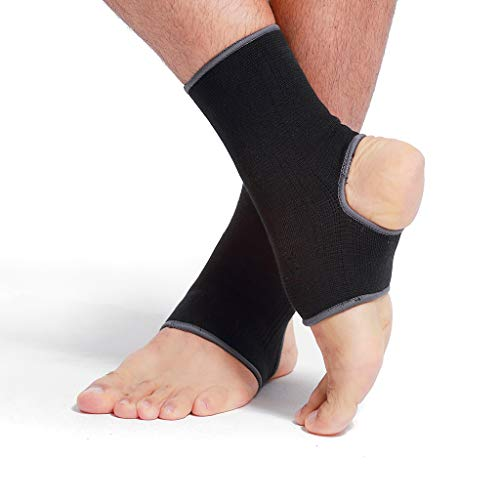 Neotech Care Ankle Support Sleeve (1 Pair) – Open Heel, Light, Elastic & Breathable Knitted Fabric – Medium Compression – for Men, Women, Kids – Right or Left Foot – Black Color (Size L)