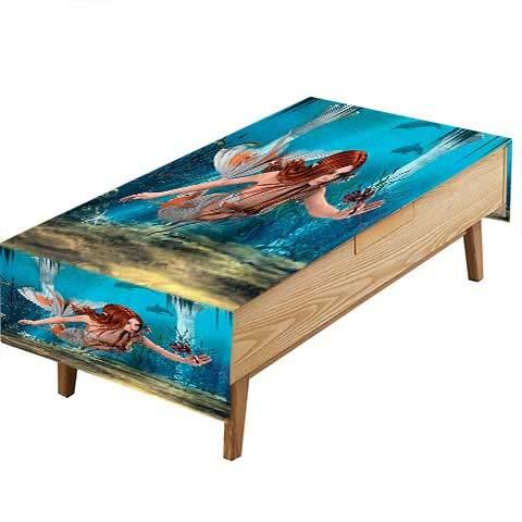 PINAFORE フィットポリエステルテーブルクロス トスカーナバン ゴッホスタイル バレー 田舎風景 絵画 アートプリント キッチン 幅50×長さ80インチ W50