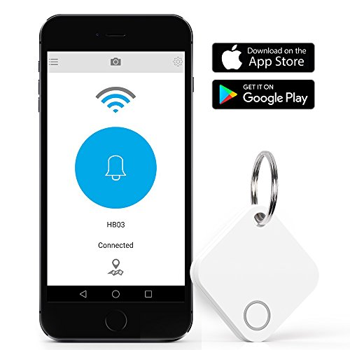 Bluetooth Key Finder, DinoFire Phone Finder Wallet Locator Finder, IP66 Waterproof Bluetooth Item Key Finder Anti Lost Alarm with Selfie Shutter for Apple iOS and Android Phone Tablet (White)
