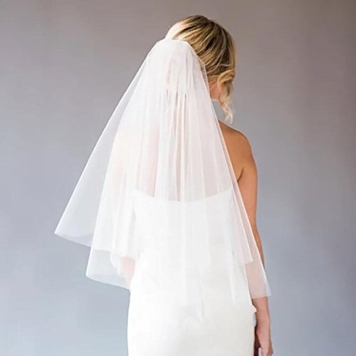 2 Tier Wedding Veil with Comb White Ivory Short Cut Edge Elbow Length (Ivory) by MISSVEIL (Image #4)