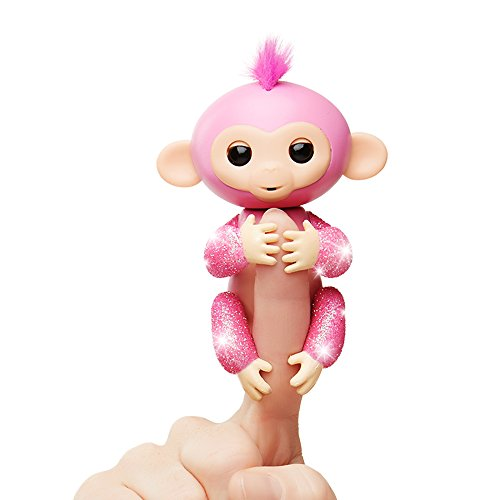 Fingerlings Glitter Monkey - Rose (Pink Glitter) - Interactive Baby Pet - By WowWee