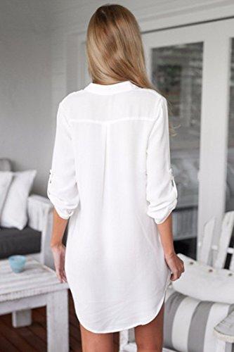Cuello camiseta Camisa Tops Nueva mujer o blanca Oto larga Camiseta Blusa Chiffon Manga qwzWa84q