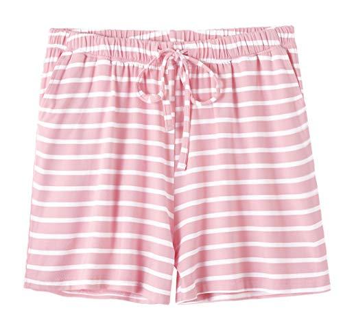 Vislivin Womens Pajama Shorts Sleep Shorts Stretchy Pajama Pants Pink Stripe L - Modal Sleep Short