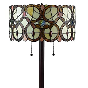 Amora Lighting Tiffany Style Floor Lamp Vintage Antique 63″ Tall Stained Glass Brown Red Tan Traditional Light Decor Bedroom Living Room Reading Gift AM342FL16, Multicolor