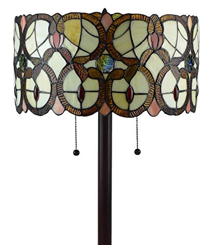 Amora Lighting Tiffany Style Floor Lamp Vintage Antique 63 Tall Stained Glass Brown Red Tan Traditional Light Decor Bedroom Living Room Reading Gift AM342FL16, Multicolor