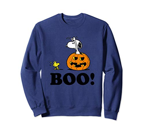 Peanuts Halloween Snoopy Woodstock BOO! Pullover Sweatshirt]()