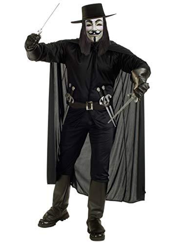 V For Vendetta Complete Costume, Black, Standard