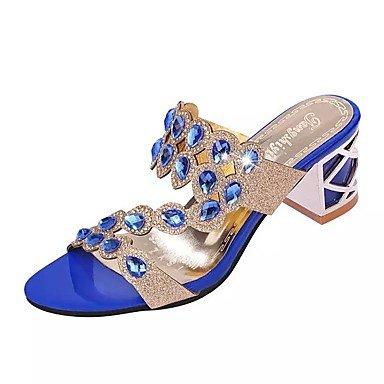 miglior amp;shoes Comoda madre us8 PU Sandali donna donna Casual SHUAI per Oro per e Estate Il eu39 Blu Poliuretano cn39 uk6 regalo Per Scarpe Nero E40x6wdq