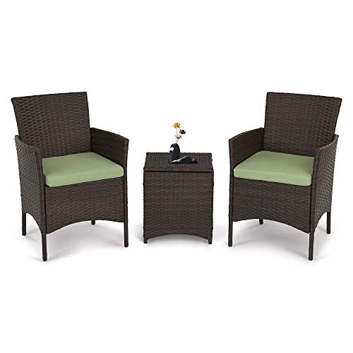 All Weather Outdoor Furniture Patio Sofa Set, 3 Pieces Patio Furniture Set PE Rattan Wicker Chairs with Green Cushion and Storage Table (Sets Garden Furniture Sofa Rattan)