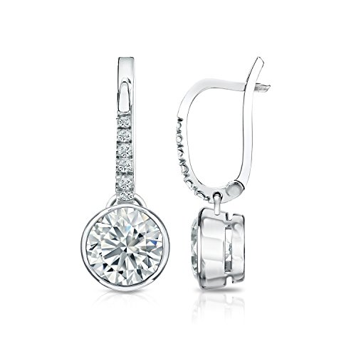 Bezel Diamond 2ct Ladies - IGI Certified Platinum Round-cut Diamond Bezel Dangle Earrings (2 ct, O. White, I2-I3)