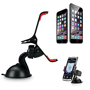 Aobiny Universal Car Windshield Mount Clip Holder For Cell Phone Stand Sucker Fixed 360° Black For iPhone 6/6 Plus Samsung GPS